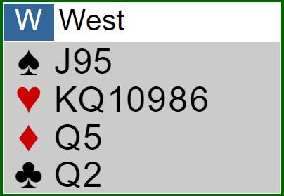 Weak two-Eröffnung - Verteilung West